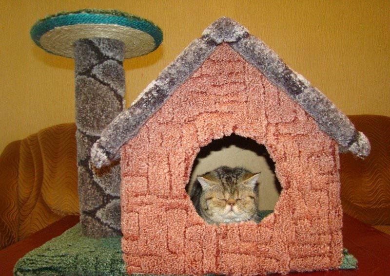 Мастер класс домика для кошки своими руками